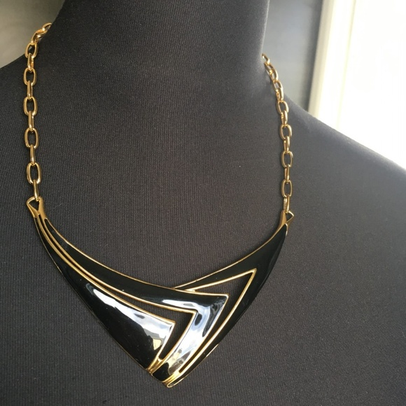 Monet Black Enamel and Gold Tone Necklace Chocker
